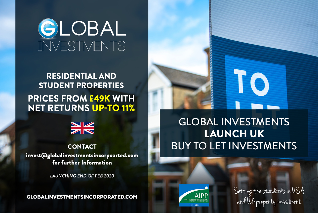 GLOBAL INVESTMENTS LAUNCH NEW RESIDENTIAL AND STUDENT UK INVESTMENTS DUE TO HUGE DEMAND FROM THE OVERSEAS MARKET